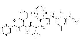 402957-28-2 Cyclopenta(c)pyrrole-1-carboxamide, (2S)-2-cyclohexyl-N-(pyrazinylcarbonyl)glycyl-3-methyl-L-valyl-N-((1S)-1-((cyclopropylamino)oxoacetyl)butyl)octahydro-, (1S,3aR,6aS)-