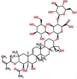 26339-90-2 β-d-Glucopyranosiduronic acid, [3β,16α,21β(Z),22α]-22-(acetyloxy)-16,24,28-trihydroxy-21-[(2-methyl-1-oxo-2-butenyl)oxy]olean-12-en-3-yl O-β-d-glucopyranosyl-(1→2)-O-[β-d-glucopyranosyl-(1→4)]-