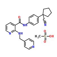 811803-05-1 N-[4-(1-Cyanocyclopentyl)phenyl]-2-[(4-pyridinylmethyl)amino]nicotinamide methanesulfonate (1:1)
