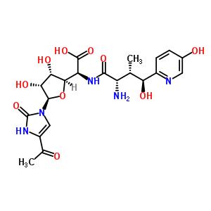 72864-26-7 (2S)-[(2R,3S,4R,5R)-5-(4-acetyl-2-oxo-2,3-dihydro-1H-imidazol-1-yl)-3,4-dihydroxytetrahydrofuran-2-yl]{[(2S,3S,4S)-2-amino-4-hydroxy-4-(5-hydroxypyridin-2-yl)-3-methylbutanoyl]amino}ethanoic acid (non-preferred name)