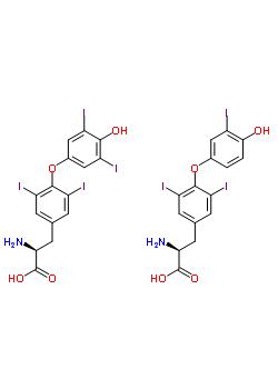 39388-33-5;62651-59-6;8061-58-3;8065-29-0 O-(4-hydroxy-3,5-diiodophenyl)-3,5-diiodo-L-tyrosine - O-(4-hydroxy-3-iodophenyl)-3,5-diiodo-L-tyrosine (1:1)