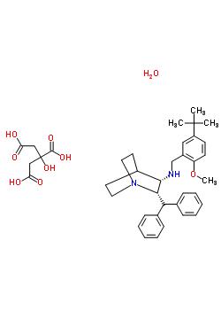359875-09-5;147116-67-4 (2S,3S)-N-(5-tert-butyl-2-methoxybenzyl)-2-(diphenylmethyl)-1-azabicyclo[2.2.2]octan-3-amine 2-hydroxypropane-1,2,3-tricarboxylate hydrate (1:1:1)