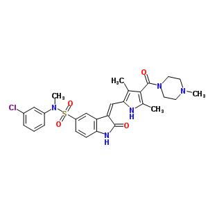 658084-23-2 (3Z)-N-(3-chlorophenyl)-3-({3,5-dimethyl-4-[(4-methylpiperazin-1-yl)carbonyl]-1H-pyrrol-2-yl}methylidene)-N-methyl-2-oxo-2,3-dihydro-1H-indole-5-sulfonamide