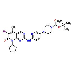 4-[6-[(6-Bromo-8-cyclopentyl-7,8-dihydro-5-methyl-7-oxopyrido[2,3-d]pyrimidin-2-yl)amino]-3-pyridinyl]-1-piperazinecarboxylic acid 1,1-dimethylethyl ester 571188-82-4
