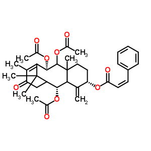 3835-52-7 (7R,12S,15R)-O~15~-acetyl-7,8-bis(acetyloxy)-4-oxo-12-{[(2Z)-3-phenylprop-2-enoyl]oxy}-13,20-didehydro-7,8,9,10,11,12,13,14-octahydro-2,15:9,14-dicycloretinol