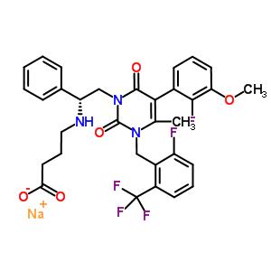 832720-36-2 sodium 4-[[(1R)-2-[5-(2-fluoro-3-methoxy-phenyl)-3-[[2-fluoro-6-(trifluoromethyl)phenyl]methyl]-4-methyl-2,6-dioxo-pyrimidin-1-yl]-1-phenyl-ethyl]amino]butanoate