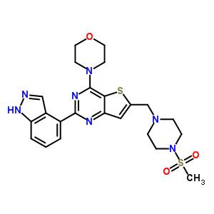 957054-30-7;957054-33-0 4-[2-(1H-indazol-4-yl)-6-[(4-methylsulfonylpiperazin-1-yl)methyl]thieno[3,2-d]pyrimidin-4-yl]morpholine