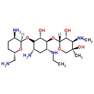 362045-44-1;59711-96-5 (2R,3R,4R,5R)-2-[(1S,2S,4S,6R)-4-amino-3-[(2R,3R,6S)-3-amino-6-(aminomethyl)tetrahydropyran-2-yl]oxy-6-(ethylamino)-2-hydroxy-cyclohexoxy]-5-methyl-4-(methylamino)tetrahydropyran-3,5-diol
