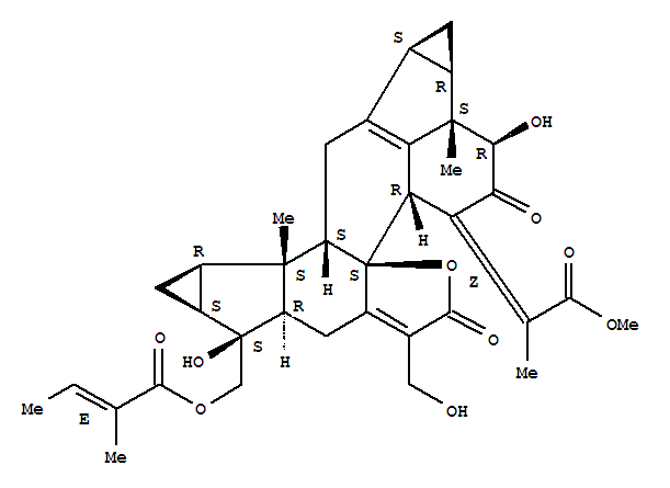 142279-41-2 2-Butenoic acid,2-methyl-,[(1aR,1bS,2R,4aR,4bS,8aS,9R,9aS,10aR,10bS,10cS,11bS)-1,1a,1b,2,3,4,4a,6,8,8a,9,9a,10,10a,10b,10c,11,11b-octadecahydro-2,9-dihydroxy-7-(hydroxymethyl)-4-(2-methoxy-1-methyl-2-oxoethylidene)-1b,10b-dimethyl-3,6-dioxocyclopropa[4,5]