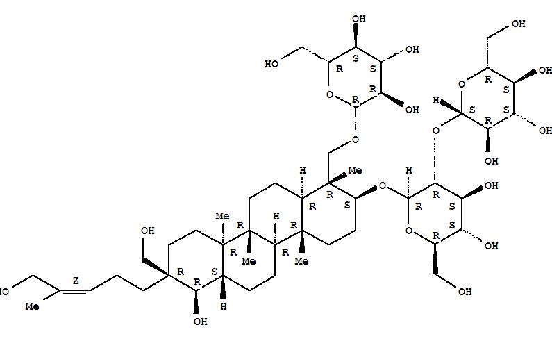156764-83-9 b-D-Glucopyranoside,(1R,2S,4aR,4bR,6aS,7R,8R,10aR,10bR,12aR)-1-[(b-D-glucopyranosyloxy)methyl]octadecahydro-7-hydroxy-8-(hydroxymethyl)-8-[(3Z)-5-hydroxy-4-methyl-3-pentenyl]-1,4a,10a,10b-tetramethyl-2-chrysenyl2-O-b-D-glucopyranosyl- (9CI)