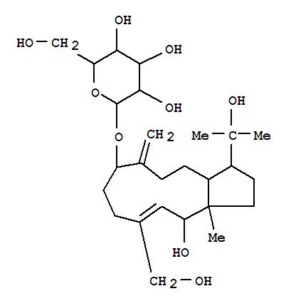 159397-74-7 b-D-Glucopyranoside,(3R,3aS,7S,10E,12S,12aS)-1,2,3,3a,4,5,6,7,8,9,12,12a-dodecahydro-12-hydroxy-10-(hydroxymethyl)-3-(1-hydroxy-1-methylethyl)-12a-methyl-6-methylene-7-cyclopentacycloundecenyl,rel-(+)- (9CI)