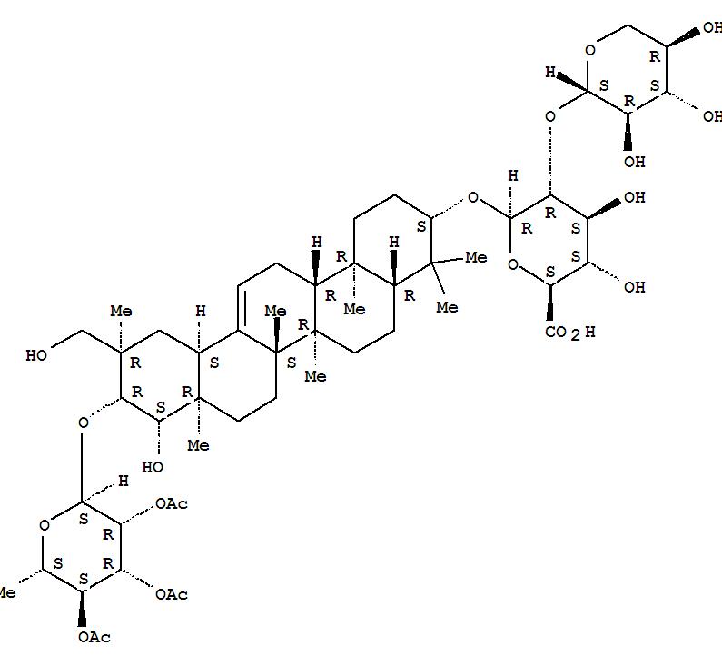 184840-39-9 b-D-Glucopyranosiduronic acid, (3b,20a,21b,22b)-22,29-dihydroxy-21-[(2,3,4-tri-O-acetyl-6-deoxy-a-L-mannopyranosyl)oxy]olean-12-en-3-yl2-O-b-D-xylopyranosyl- (9CI)