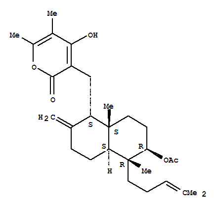 51103-58-3 2H-Pyran-2-one,3-[[(1R,4aR,5S,6S,8aR)-6-(acetyloxy)decahydro-5,8a-dimethyl-2-methylene-5-(4-methyl-3-penten-1-yl)-1-naphthalenyl]methyl]-4-hydroxy-5,6-dimethyl-,rel-(-)-