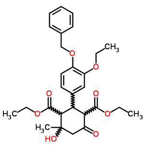 64670-40-2 diethyl 2-[4-(benzyloxy)-3-ethoxyphenyl]-4-hydroxy-4-methyl-6-oxocyclohexane-1,3-dicarboxylate