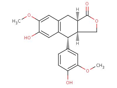 518-55-8 (3aR,4S,9aR)-6-hydroxy-4-(4-hydroxy-3-methoxyphenyl)-7-methoxy-3a,4,9,9a-tetrahydronaphtho[2,3-c]furan-1(3H)-one