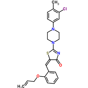 6601-48-5 (5E)-2-[4-(3-chloro-4-methylphenyl)piperazin-1-yl]-5-[2-(prop-2-en-1-yloxy)benzylidene]-1,3-thiazol-4(5H)-one