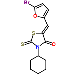 292034-08-3 (5Z)-5-[(5-bromofuran-2-yl)methylidene]-3-cyclohexyl-2-thioxo-1,3-thiazolidin-4-one