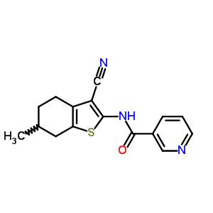 4109-40-4 N-(3-cyano-6-methyl-4,5,6,7-tetrahydro-1-benzothiophen-2-yl)pyridine-3-carboxamide
