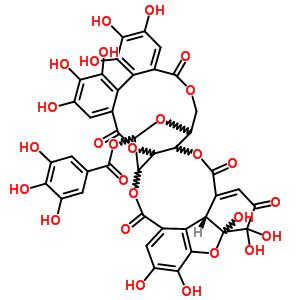 60976-49-0 3,4,4,6,7,15,16,17,18,19,20-undecahydroxy-2,9,13,22,27-pentaoxo-2,3,4,4a,9,11a,13,22,24,25,25a,27-dodecahydro-11H-3,5-epoxy-25,11-(epoxymethano)dibenzo[h,j]dibenzo[7,8:9,10][1,5]dioxacycloundecino[3,2-b][1,6]dioxacyclododecin-29-yl 3,4,5-trihydroxybenzoat