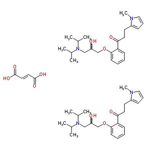 98696-69-6 1-(2-{3-[bis(1-methylethyl)amino]-2-hydroxypropoxy}phenyl)-3-(1-methyl-1H-pyrrol-2-yl)propan-1-one (2E)-but-2-enedioate (2:1) (salt)
