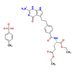 165049-28-5 5-[2-(4-{[(1S)-4-ethoxy-1-(ethoxycarbonyl)-4-oxobutyl]carbamoyl}phenyl)ethyl]-4-oxo-4,7-dihydro-1H-pyrrolo[2,3-d]pyrimidin-2-aminium 4-methylbenzenesulfonate (non-preferred name)