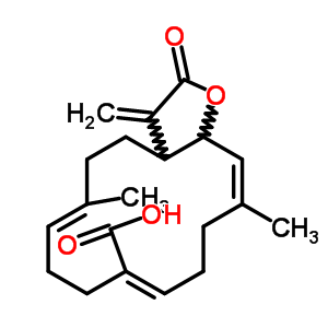 59632-76-7 (6E,10Z,14Z)-6,14-dimethyl-3-methylidene-2-oxo-2,3,3a,4,5,8,9,12,13,15a-decahydrocyclotetradeca[b]furan-10-carboxylic acid