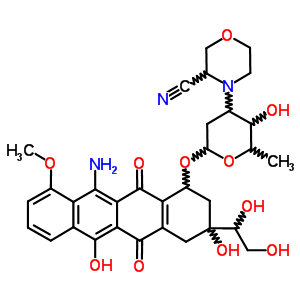 89164-80-7;89164-81-8 11-amino-3-(1,2-dihydroxyethyl)-3,6-dihydroxy-10-methoxy-5,12-dioxo-1,2,3,4,5,12-hexahydrotetracen-1-yl 3-(3-cyanomorpholin-4-yl)-2,3,6-trideoxyhexopyranoside