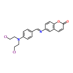 15990-92-8 6-{[(E)-{4-[bis(2-chloroethyl)amino]phenyl}methylidene]amino}-2H-chromen-2-one