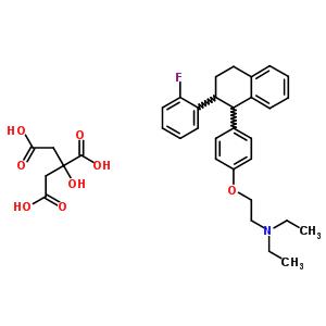 2-(p-(2-(o-Fluorophenyl)-1,2,3,4-tetrahydro-1-naphthyl)phenoxy)triethylamine citrate 13754-17-1