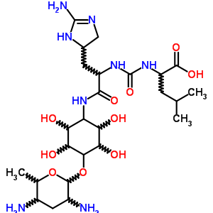 51746-09-9 2-({[3-(2-amino-4,5-dihydro-1H-imidazol-5-yl)-1-({4-[(3,5-diamino-6-methyltetrahydro-2H-pyran-2-yl)oxy]-2,3,5,6-tetrahydroxycyclohexyl}amino)-1-oxopropan-2-yl]carbamoyl}amino)-4-methylpentanoic acid (non-preferred name)