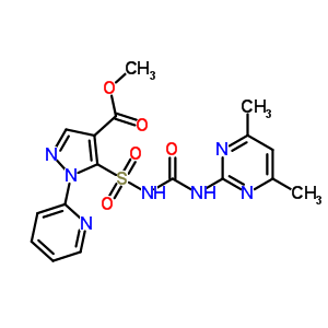 104770-29-8 methyl 5-{[(4,6-dimethylpyrimidin-2-yl)carbamoyl]sulfamoyl}-1-(pyridin-2-yl)-1H-pyrazole-4-carboxylate