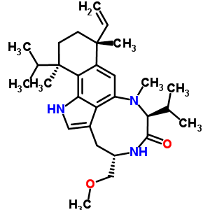 90599-28-3 (4S,7S,10R,13R)-10-ethenyl-4-(methoxymethyl)-8,10,13-trimethyl-7,13-di(propan-2-yl)-1,3,4,5,7,8,10,11,12,13-decahydro-6H-benzo[g][1,4]diazonino[7,6,5-cd]indol-6-one